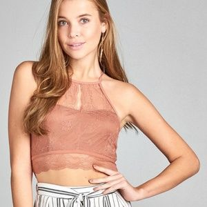 🌸NWT!Open back lace crop top